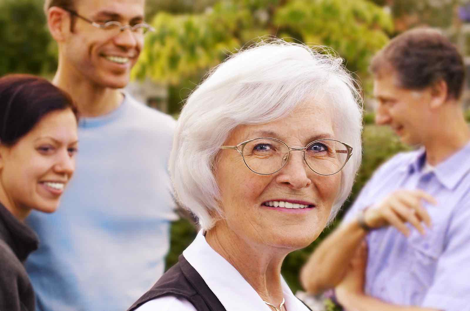 Elderly woman with dentures in Bellaire, TX.